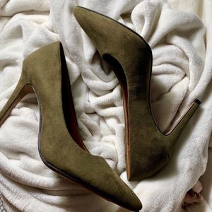 Christian Siriano olive green pumps